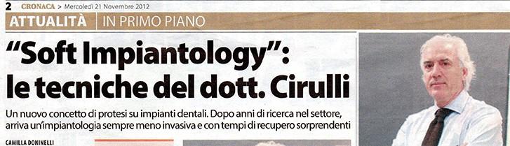 Il dr. Cirulli sul Corriere Laziale